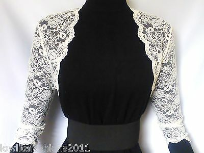 Ladies Ivory/White Lace Bridal 3/4 sleeve Bolero/Shrug/Jacket Sizes  16 & 18