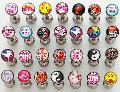 T#29 - 15pcs Girl Power Logo Tongue Tounge Rings 14g Wholesale Lot