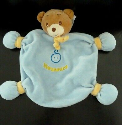 Nounours Noeud Doudou Plat Bebe Ours Tete Jaune Bleu Broderie H9bYeWDE2I
