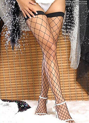 Ke Uk Large Mesh Fishnet Thigh High Stockings Black