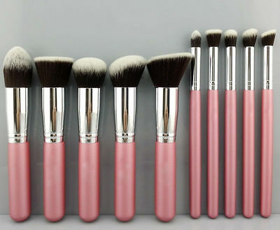 10Pcs Cosmetic Make-up Brushes Face Powder Blusher Foundation Kabuki Contour Set