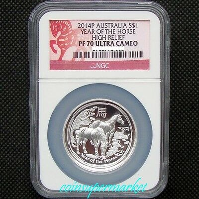 2014 Australia Lunar Year Of Horse High Relief Proof 1oz Silver Coin NGC PF 70UC