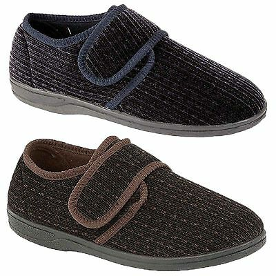 Mens Velcro Fastening Slippers Indoor Warm Comfortable Shoes Full Slipper Sizes