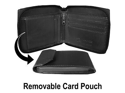 Real Leather Mens Wallets Zip Around Zipped Up 9 Card Spaces Black Roamlite RL84