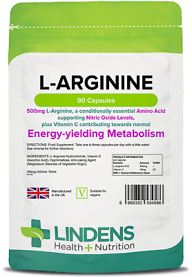 L-Arginine 500mg -boosts nitric oxide levels, muscle pump- (90 capsules) [4586]