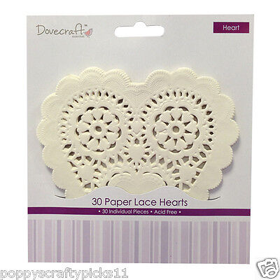 30 Dovecraft Cream Heart Paper Lace Doilies Card Making Craft Embellishments