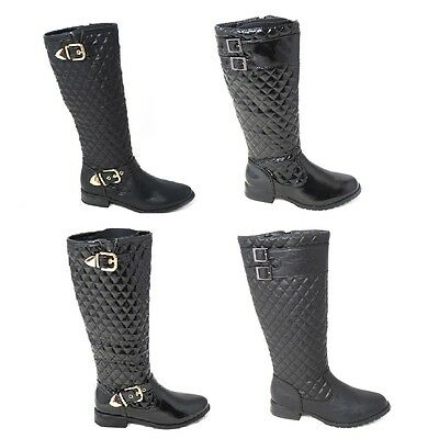 Womens Ladies Low Heel Flat Winter Quilted Riding Zip Calf Knee Boots Size 3-8
