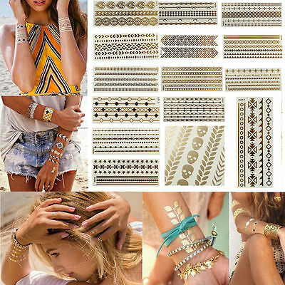 1 SHEET x FLASH TATTOO TEMPORARY METALLIC GOLD SILVER FOIL JEWELLERY TATTOO