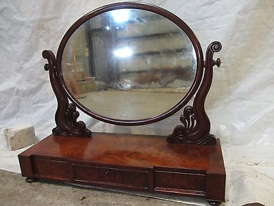 Quality Victorian flame mahogany oval dressing table toilet swing mirror (467)