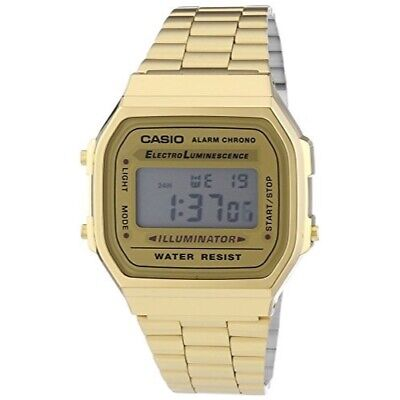 Casio Digital Mens Gold Retro Watch A168WG-9 with light and stopwatch