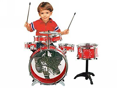 11-Piece Children Red Drum Set Musical Instrument Toy Boy Girl Playset Fun Gift