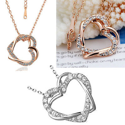 Women Girls 18K Rose Gold Plated Double Heart Crystal Pendant Necklace