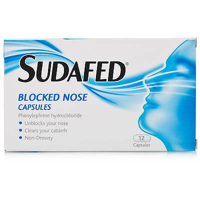 Sudafed Blocked Nose Capsules Congestion Relief Non Drowsy - 12 Capsules