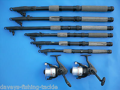 2 CARBON TELESCOPIC RODS+OKUMA ATOMIC 160 REELS 6,7,8,9,10,12 ft SPINNING TRAVEL