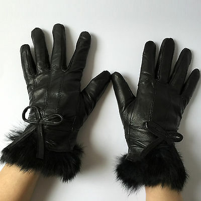 Ladies Genuine Leather Gloves Thinsulate Fleece Lined Driving Soft Winter Warm