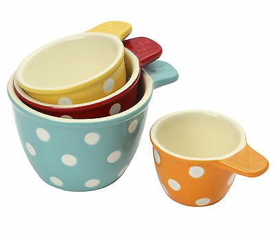 Dexam Set of 4 Polka Dot Spot Stoneware Measuring Cups Red Yellow Orange Blue