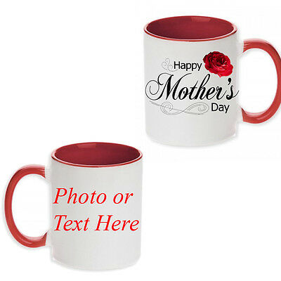 Mother's Day Personalised Gift Idea Red Coloured Mug Tea Cup Any Photo Text