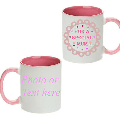 Mother's Day Personalised Gift Idea Pink Coloured Mug Tea Cup Any Photo Text