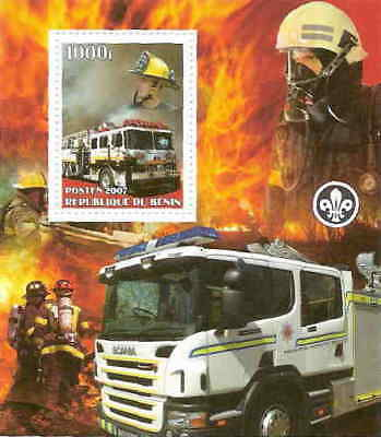 Fire Engines on Stamps -  Souvenir Sheet 2B-046