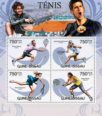 Guinea-Bissau - Tennis Players - 4 Stamp Sheet - GB12502a
