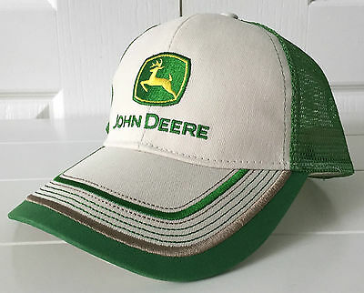 John Deere Canvas Olive Cap Hat w Contrast Stitching Adjustable