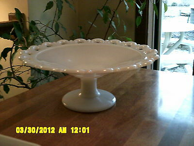"""Italy White Palm Leaf or Shell Embossed Cake Stand 10 1/2 """""""
