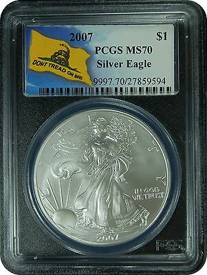 2007 PCGS MS70 Silver Eagle (Don't Tread On Me Label)