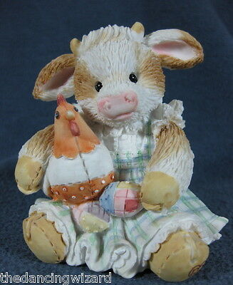 Marys Moo Moos Patty 627690 Cowgirl with Hen On Lap Figurine Mary Rhyner 1993 BX