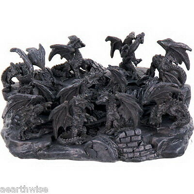 SET OF 12 x DRAGON FIGURINES & DISPLAY STAND - Wicca Witch Pagan Goth CAST RESIN