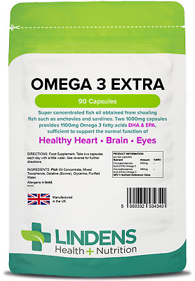 Omega 3 Extra 1000mg Capsules EPA / DHA 55% (90 pack) [Lindens Apothecary 4340]