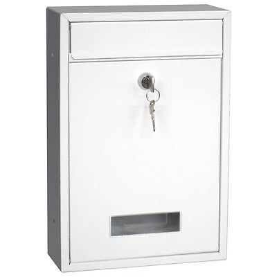 Steel Square Post Box White Mailbox Lockable Mail Wall Mounted By Home Discount