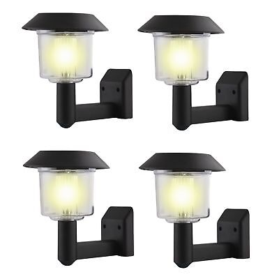 4 x Solar Power Wall Light Fence LED Outdoor Lighting Powered Garden Black