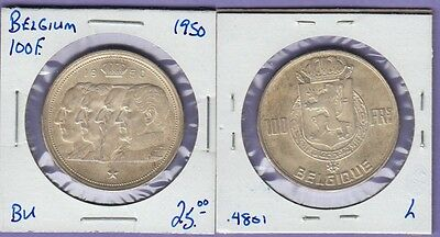 """Belgium 100 Francs Silver Coin 1950 Uncirculated Condition """"Four Kings"""""""