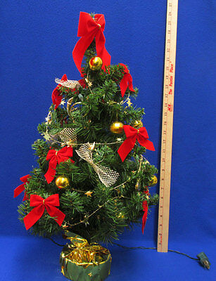 "24"" Decorated Christmas Tree w/ Lights Gold Music Instrument Ornaments Red Bows"