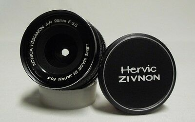 OEM KONICA Hexanon AR f/3.5 28mm Prime Wide-Angle Lens SLR Film Camera w/Caps
