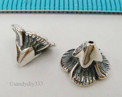 2x OXIDIZED STERLING SILVER FLOWER CONE BEAD CAP 8mm 6.3mm #1988