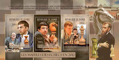 Guinea - 2012 Chess Masters, Anand - 3 Stamp Sheet - 7B-1910
