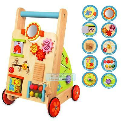 NEW Wooden Baby First Walker with 10 Learning Activity Push Walker Toy & Gift