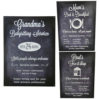 Tin Metal Relative Wall Plaques Hanging Vintage Gift Home Sign Quote Message New