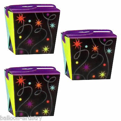 6 Black Style Happy Birthday Party Continues Loot Treat Gift Favour Boxes Pails