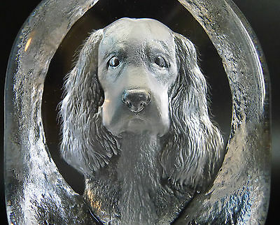 "Swedish Mats Jonasson  Crystal glass Engraved Dog Sculpture 5.25"" signed"