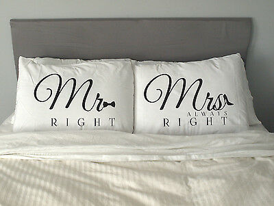 MR&MRS RIGHT  Pillow Case Valentine's Day Gift Wedding Anniversary