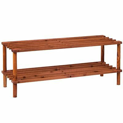 2 Tier Slated Shoe Rack Walnut Wooden Storage Stand Organiser By Home Discount