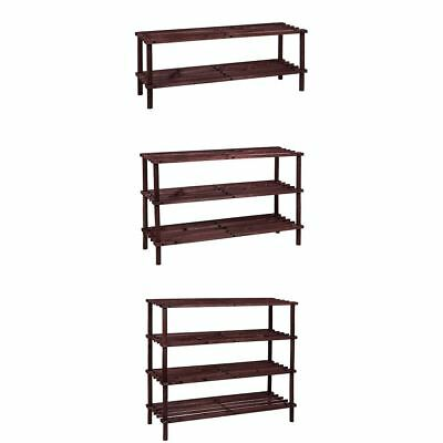 2 3 4 Tier Slatted Shoe Rack Oak Wooden Storage Stand Organiser By Home Discount