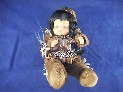 "native american doll 7 1/4"" in costume with dream catcher"