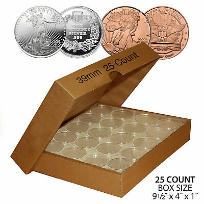 25 Direct Fit Airtight 39mm Coin Capsules for 1oz SILVER ROUNDS or COPPER ROUNDS