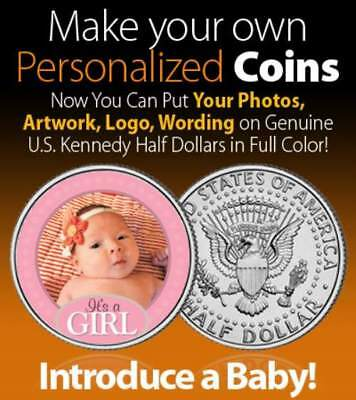 Baby Boy or Girl Birth Announcement  DESIGN YOUR OWN  on JFK Half Dollar US Coin