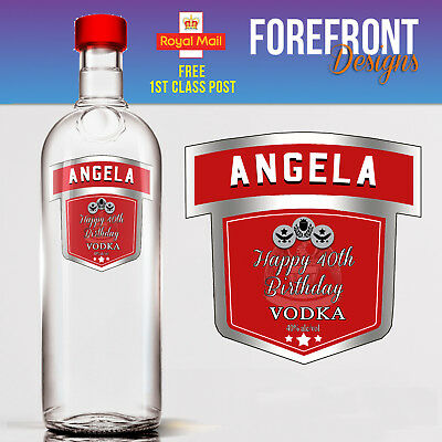 Personalised Vodka bottle label, Perfect Birthday/Wedding/Graduation Gift