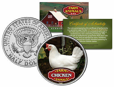 CHICKEN * Collectible Farm Animals * JFK Kennedy Half Dollar U.S. Colorized Coin
