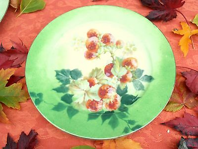 ANTIQUE FRENCH LIMOGES HAVILAND DECORATIVE PLATE GDA Handpainted STRAWBERRIES